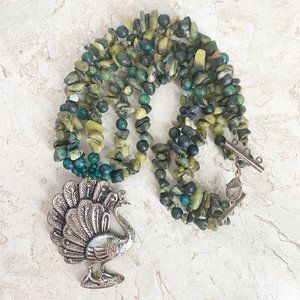 Jewelry - Green Natural Stone Choker Necklace Silver PEACOCK